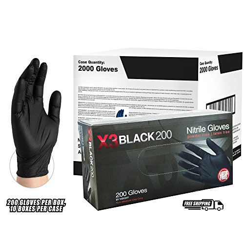 AMMEX - BX3D44100 - Nitrile Gloves - Disposable, Powder Free, Latex Free, 3mil, Food Safe, Medium, Black(Case of 2000) by Ammex