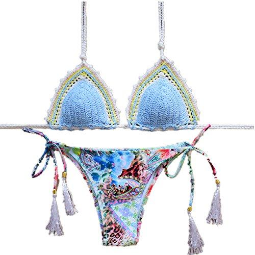 YC FASHION Women's Colorful Handmade Crochet Halter Bikini Set Swimsuit Sexy Swimwear (Large, Blue)
