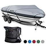 Leader Accessories 600D Polyester 5 Colors Waterproof Trailerable Runabout Boat Cover Fit V-hull Tri-hull Fishing Ski Pro-style Bass Boats,Full Size (20'-22'L Beam Width up to 100'', Grey)