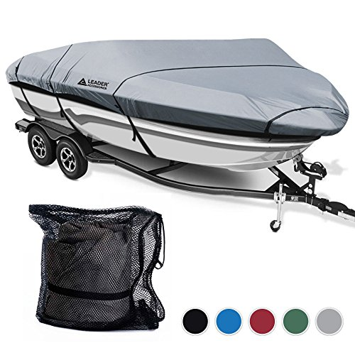 Leader Accessories 600D Polyester 5 Colors Waterproof Trailerable Runabout Boat Cover Fit V-hull Tri-hull Fishing Ski Pro-style Bass Boats,Full Size (20'-22'L Beam Width up to 100'', Grey) (Boat Cover V-hull)