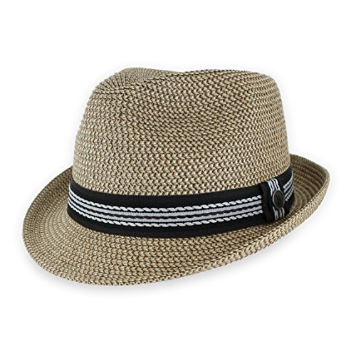 (Men/Women Summer Straw Trilby Fedora Hat in Blue, Tan, Black (Medium,)