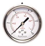 2-1/2'' Liquid Filled Pressure Gauges - Stainless Steel Case, Brass, 1/4'' NPT, Center Back Mount Connection 0-15PSI
