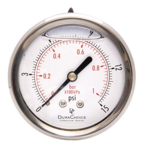 2-1/2'' Liquid Filled Pressure Gauges - Stainless Steel Case, Brass, 1/4'' NPT, Center Back Mount Connection 0-15PSI by DuraChoice