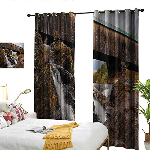Wen Zhouqw Landscape Old Rustic Oak Covered Bridge Over Cascading Waterfalls Rock Fall Season American City Brown Indoor Curtain -
