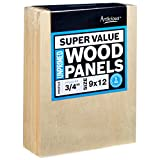 Artlicious 9x12 Super Value Wood Panel Boards for Artist Painting 5 Pack - 3/4'' Standard Profile