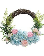Grevis Artificial Hydrangea Rose Flowers Wreath Spring Summer Wreath for Front Door Wall Window Wedding Farmhouse Home Decor