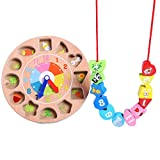 CC-US 3D Wooden Teaching Clock Shape Sorting Toy Number Learning Tools Lacing Beads Game Developmental Toy for Kids