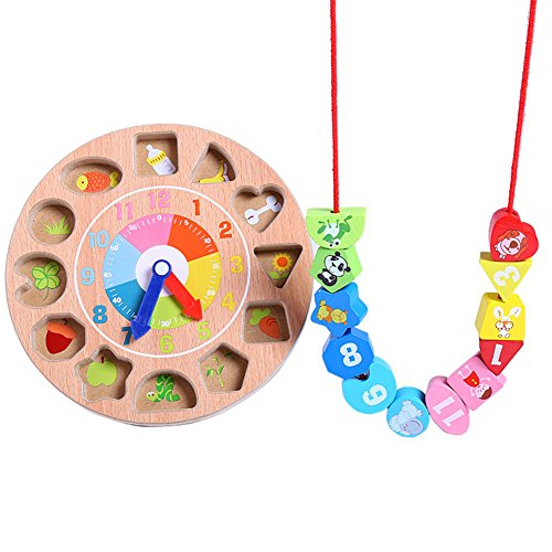 CC-US 3D Wooden Teaching Clock Shape Sorting Toy Number Learning Tools Lacing Beads Game Developmental Toy for Kids by C.C-US