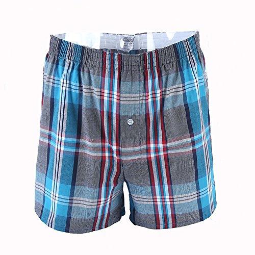 Defang Men's Soft Cotton Plaid Boxers (US XL(36