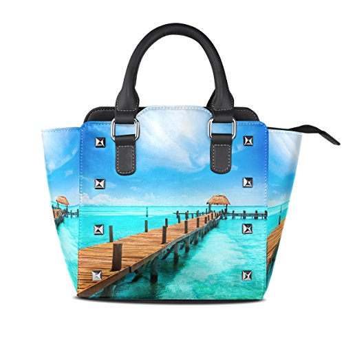 Handbags PU Seaside Shoulder For Tote Landscape Bag Bags Women Crossbody Top LIANCHENYI Leather Maldives Messenger Single Handle Amazing IR1AUU