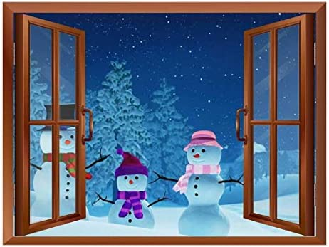 Snowmans Out of The Window - Peel and Stick Self-Adhesive Removable Window View Wall Sticker/Wall Mural - 36