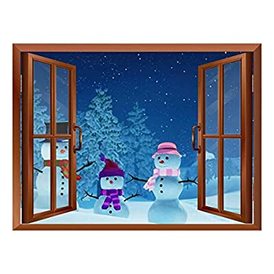 Astonishing Portrait, Premium Creation, Snowmans Out of The Window Peel and Stick Removable Window View Wall Sticker Wall Mural