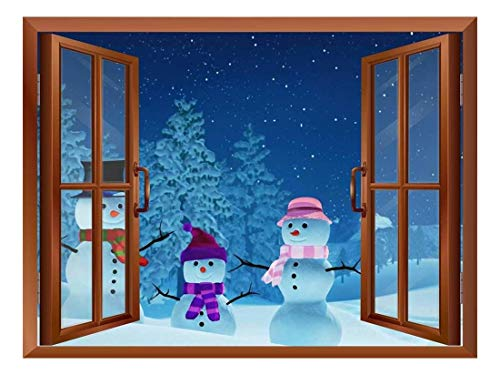 Snowmans Out of The Window Peel and Stick Removable Window View Wall Sticker Wall Mural