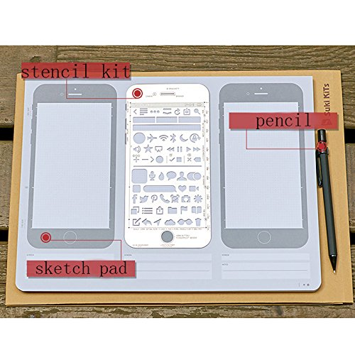 ZZ Lighting Novelty Creative iPhone 6 Draft Drawing Pad for App Design and UI Design (Sketch Pad+Stencil Kit+Pencil) by ZZ Lighting (Image #4)
