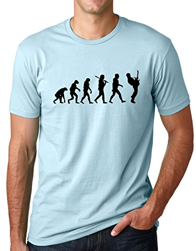 Light T-shirt Evolution - Think Out Loud Apparel Guitar Player Evolution Funny T-Shirt Guitarist Musician Tee T Shirt Light Blue XL