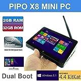 "Pipo X8 TOZO Wifi 2G RAM 32GB ROM Tablet Mini PC Desktop Laptop TV Box Intel Atom Z3736f Quad Core 2.16 GHz Dual System (Windows 8.1 / Android 4.4 KitKat) HDMI 7"" IPS Screen Mini PC 2G RAM 32GB ROM"