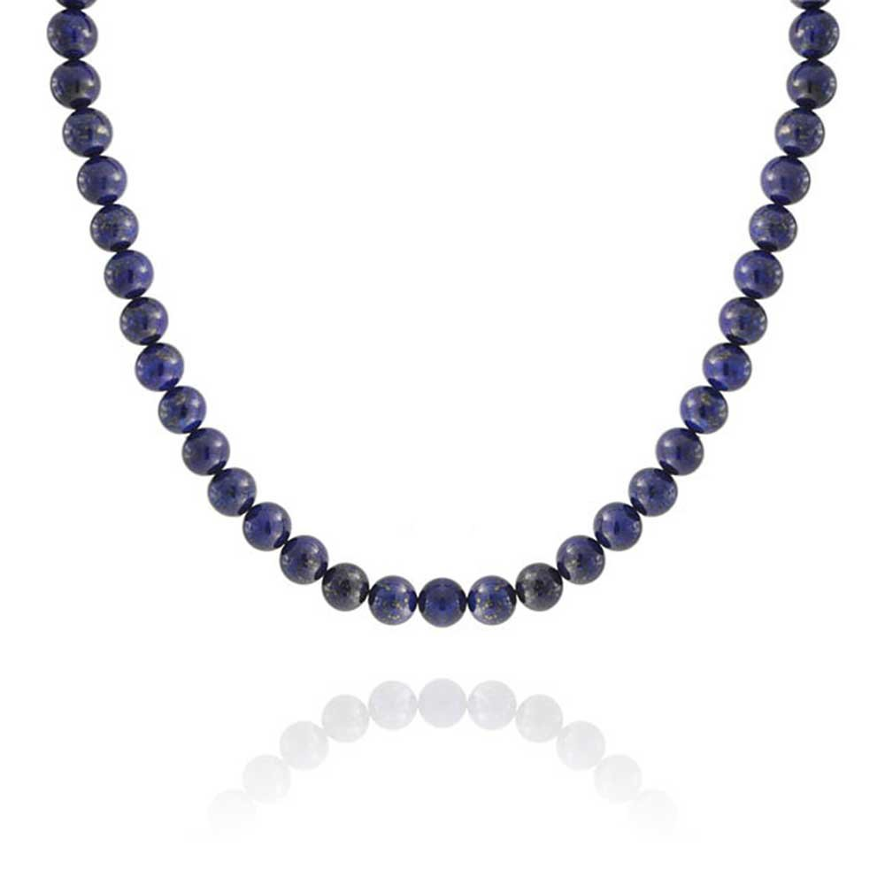 Silver Plated Round 10mm Lapis Lazuli Bead Necklace