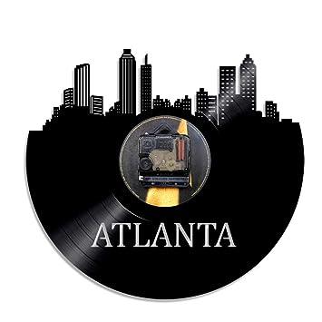 Mrzy Ciudad de los Eeuu Atlanta Skyline Reloj de Vinilo Reloj de Pared de Paisaje Urbano Reloj de Pared Georgia Skyline Silueta Arte de la Pared Regalo de ...