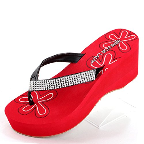 Sandals Rubber PVC Upper Slippers Summer Clip Toe High Heels Rubber EVA Thick Sole Thick Heel Shoes Slope High Heels Red vXphQ