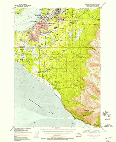 (YellowMaps Anchorage A 8 AK topo map, 1:63360 Scale, 15 X 15 Minute, Historical, 1953, Updated 1958, 20.8 x 17 in - Polypropylene)