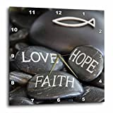 3dRose Andrea Haase Still Life Photography - Black Pebble Engraved, Love Faith Hope - 10x10 Wall Clock (dpp_268541_1)