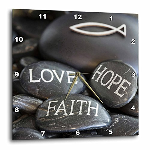 3dRose Andrea Haase Still Life Photography - Black Pebble Engraved, Love Faith Hope - 10x10 Wall Clock (dpp_268541_1) by 3dRose