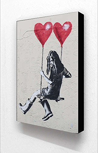 Banksy Girl 2 Hearts Love Swing Vertical 6 x 4 Inches Postcard Size Block Mounted Print by Laminated Posters