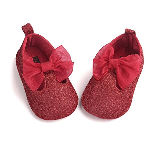 [Fheaven Baby Girl Bowknot Leater Shoes Sneaker Anti-slip Soft Sole Toddler for Age0~18M (US:3( Age:6~12M),] (Ladybug Soft Costumes)