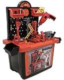 Établi de bricolage avec lot d'outils pour enfant - jouet d'imitation - plus de 50 pièces dont perceuse qui tourne - boite de rangement