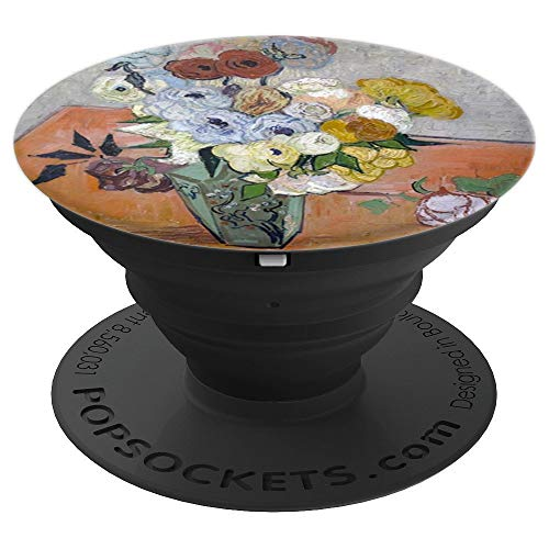 - Still Life Japanese Vase Roses Anemones Vincent van Gogh Art - PopSockets Grip and Stand for Phones and Tablets