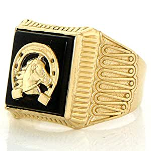 14k Solid Yellow Gold Onyx Horseshoe Mens Ring Amazon.com