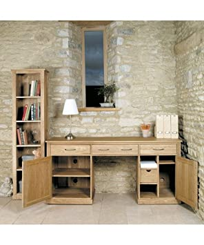 baumhaus mobel oak large hidden office twin pedestal desk amazon co uk office products