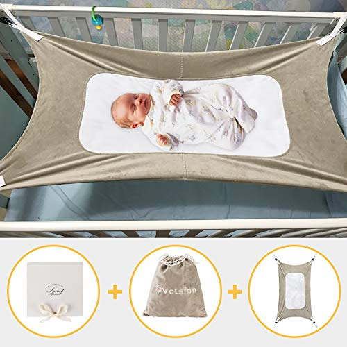 Volsion Baby Hammock for Crib - Bed Hammock | Lullaby Hammock | Newborn Bassinet of Environmentally Friendly Materials | Crib Hammock Bed with Portable Gift Box for Newborn Infant Boys and Girls