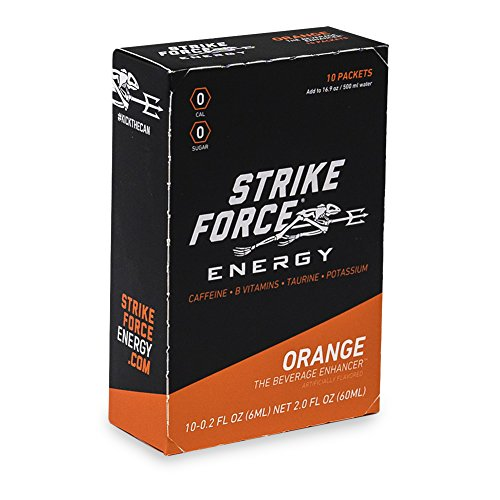 Strike Force Energy - 10 Ct Boxes - Orange - Liquid Energy Drink Mix - Portable Packets