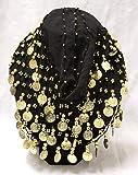 1 Ceinture Foulard Noir Danse du Ventre Orientale Hanche Châle Ethnique - Belly Dance Hip Oriental - Neuf - Costume Professionnel pour Femmes décoré de pièces dorées