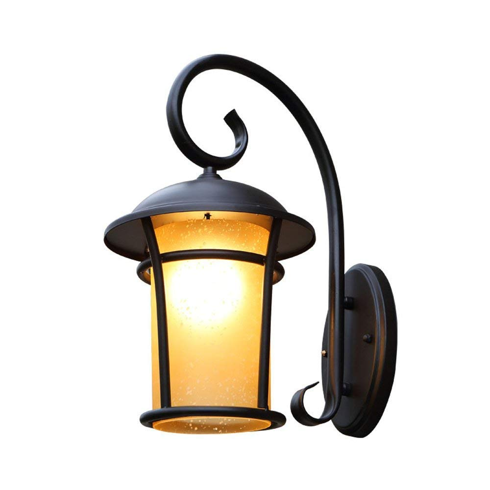 Mingco Hines AC110-240V Retro European Glass Laterne Wasserdichte Outdoor-Wandlampen E27 Lampe Bronze Garten Terrasse Korridor Hof Straße Wandleuchten