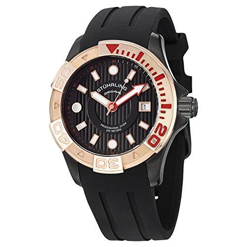 Stuhrling Original Men's 718.05 Aquadiver Regatta Manta Ray Swiss Quartz Date Professional Diver Rose Tone Bezel Rubber Strap -