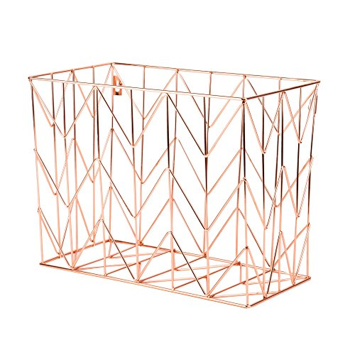 U Brands Hanging File Desk Organizer, Wire Metal, Copper - Hanging Basket Collection