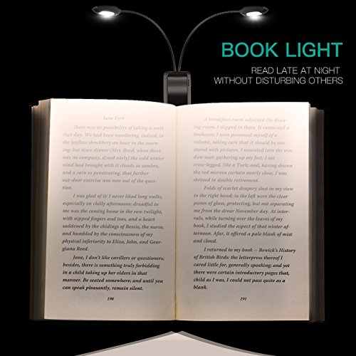 LED Book Light, TopElek 10 LEDs Reading Light, Micro USB Rechargeable, Dual 360° Flexible Arms, Adjustable Clip, with Travel Bag for Kindle, Computer, Books Reading, Black by TOPELEK (Image #4)'