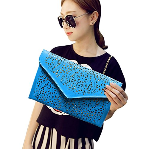 Women Clutches Cutout Shoulder Fashion Bag Bags Hrph Vintage Chain Handbags Hollow Out Lady Envelope Blue Day Style 5gqxwf