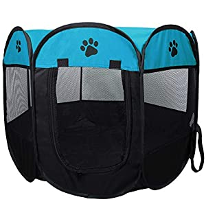 Coolty Parque de tela plegable para mascotas, cachorro, perro, gato, tienda de campaña portátil, 8 paneles para perros…