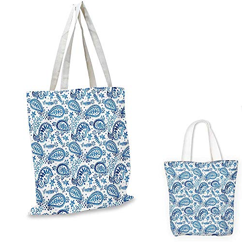 Paisley canvas messenger bag Mediterrian Themed Design with Water Color Hand Drawn Flowers and Leaves Print canvas beach bag Blue and White. 12