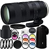 Tamron SP 70-200mm f/2.8 Di VC USD G2 Lens for Canon EF 11PC Accessory Bundle – Includes 3 Piece Filter Kit (UV + CPL + FLD) + 4PC Macro Filter Set (+1,+2,+4,+10) + MORE