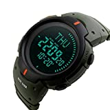 Bounabay Men's Digital Multifunction Sports Watch with Compass,Green