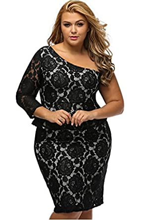 Fortunings Jds Women Plus Size Lace One Shoulder Long Sleeve Peplum