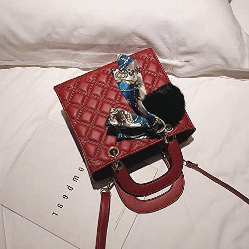 Mdsfe Sac à Main Femme Petit Ruban de Satin Boule de Cheveux Dames Sac à bandoulière Sac à Main en Cuir PU Sac bandoulière Femme Marque Designer Rouge - Argent Red-a123