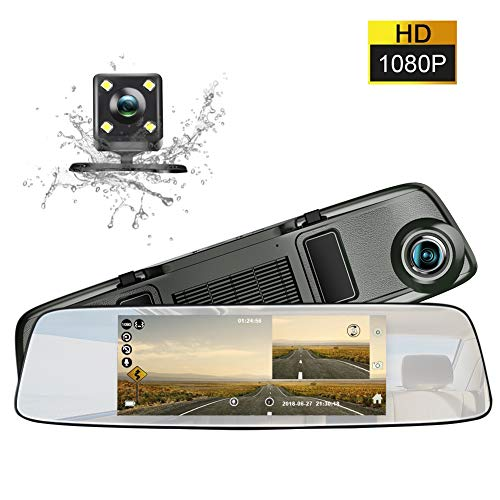 (Mirror Dash cam 6.86 inch Touch Screen in-Mirror Video 1080P Dual Dashboard Camera with Loop Recording Night-Mode and HD waterproof Rear View Camera )