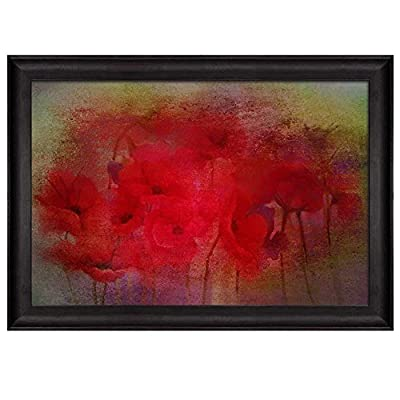 Red Poppy Field with Red Texture on Top and Green Vignette Around It Nature Framed Art, Created By a Professional Artist, Astonishing Handicraft