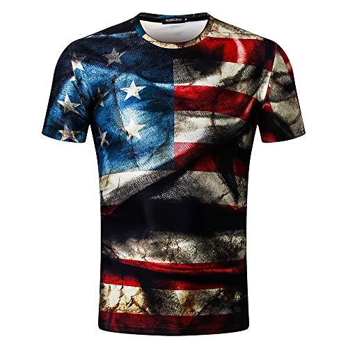 Mysky Summer Popular Men Retro American Flag The Old Glory 3D Print Casual Tee Shirt Tops Blouse Black