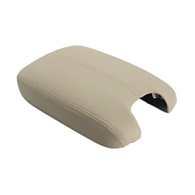Ezzy Auto Beige Leather Suture Console Armrest Lid Cover for 2008 2009 2010 2011 2012 Honda Accord Center Console Cover Lid: Automotive